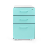 White + Aqua Fully Loaded Stow 3-Drawer File Cabinet