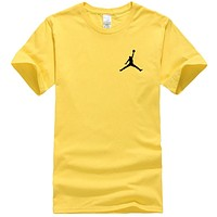 NIKE Jordan New fashion people print couple top t-shirt Yellow