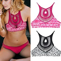 Triangle Hollow Out dot print crop top hang High neck Bikinis set push up Swimwear Swimsuit