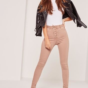 Missguided - Vice High Waisted Lace Up Skinny Jeans Camel