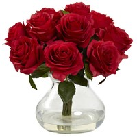 Artificial Flowers -Red Rose Arrangement With Vase Silk Flowers