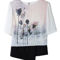 ROMWE Asymmetric Floral Print Zippered T-shirt
