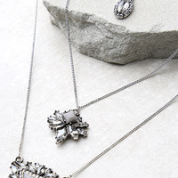 Recharge Silver and Grey Rhinestone Layered Necklace