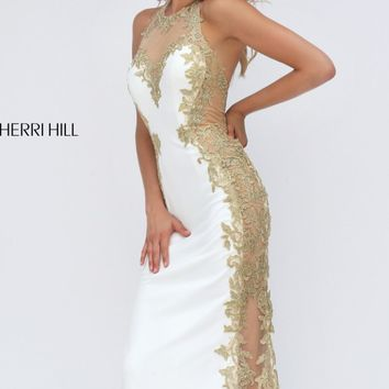 Golden Appliqued Sheer Gown by Sherri Hill