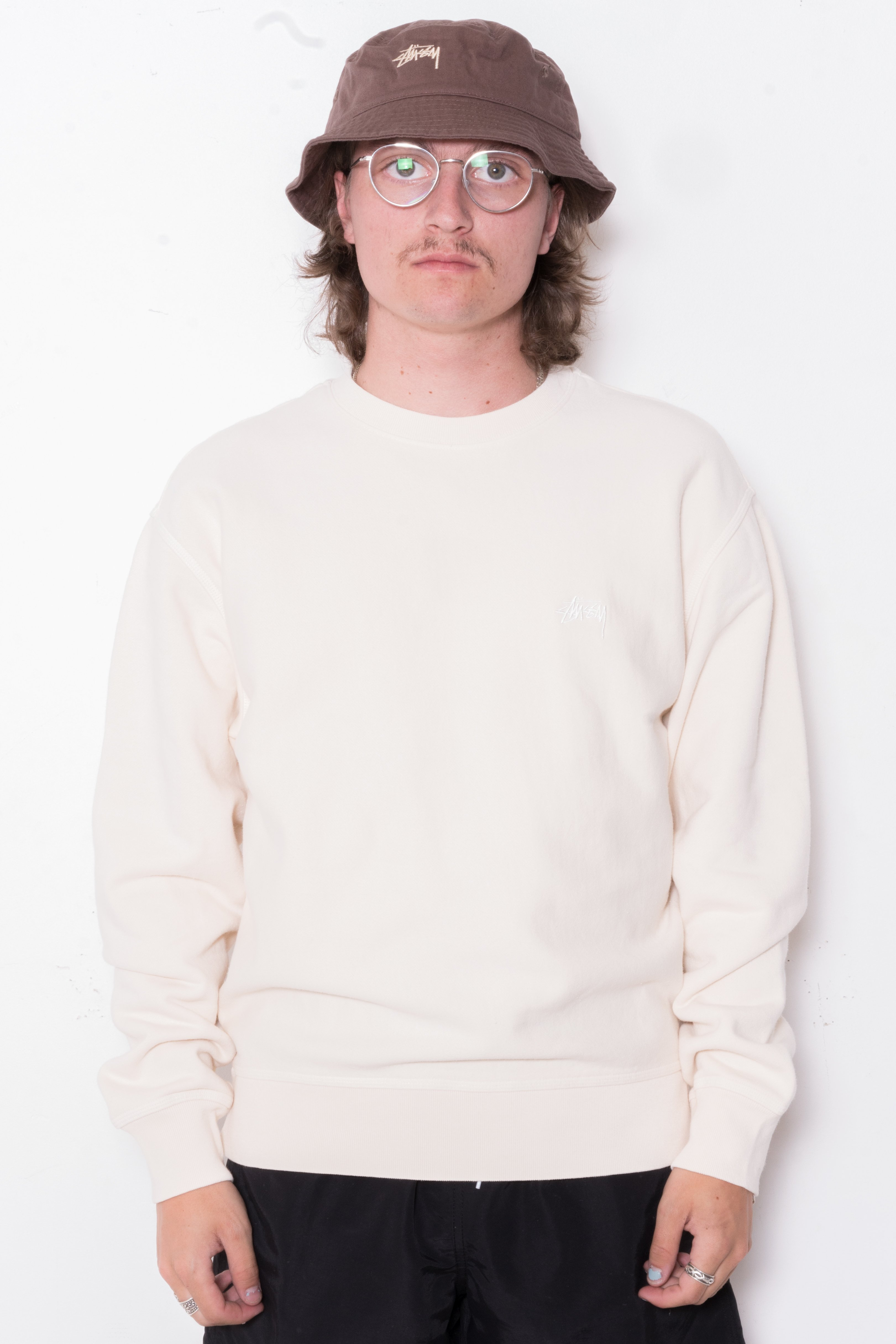Image of Stussy Stock Logo Crew In Oatmeal