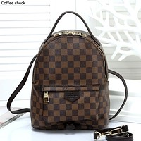 LV tide brand men and women simple chessboard backpack travel backpack Coffee check
