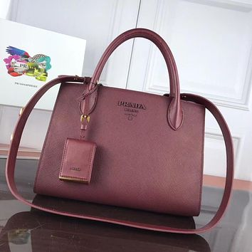 prada women leather shoulder bags satchel tote bag handbag shopping leather tote crossbody 242