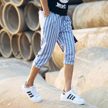 Blue and White Stripe 3/4 Shorts