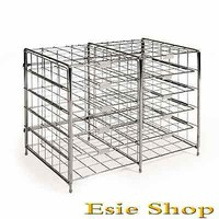 Literature Rack Document Sorter 10 Slot Compartment Steel Wire Classroom Office