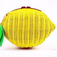 Womens Woven Pattern Lemon Straw Handbag Cross Body Beach Fruit Clutch (Yellow)