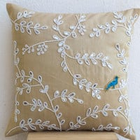 Beige Silk White Designer Pillow Cover With Embellished Leaves In Beads Sequin