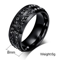 New Fashion Men Rings Black Crystyal Rings Stainless Steel Men Wedding Rings