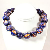 "Marbled Round Strand Necklace Vintage Blue Orange Beaded 18"" Princess n272"