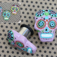 """Sugar skull tunnels plugs for gauged or stretched ears: 4g (5mm),2g (6mm), 0g (8mm), 00g (10mm), 7/16"""" (11mm), 1/2"""" (12mm)"""
