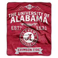 Alabama Crimson Tide NCAA Royal Plush Raschel Blanket (Label Series) (50x60)