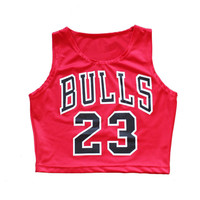 Summer Street Style Sport Tank Tops Fashion Clothing Women's Bulls 23 crop top cropped women shirts Camisetas Hip-Hop Sexy Vest