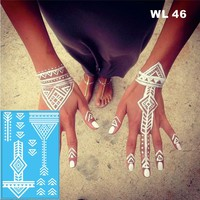 #WL-46 Tribal  White Henna Temporary Tattoo Hand Decoration Sticker for wedding body decor