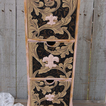 Organizer, Shabby Chic, Chest, Cabinet, Pink, Gold, Fleur de Lis, French, Decoupage, Upcycled, Hand Painted