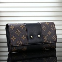 Louis Vuitton LV Newest Fashion Women Leather Buckle Purse Wallet Black