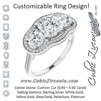 Cubic Zirconia Engagement Ring- The Iekika (Customizable 3-stone Cushion Cut Design with Multi-Halo Enhancement and 150+-stone Pavé Band)