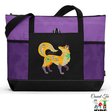 Personalized Zippered Flower Power Fox Tote Bag with Mesh Pockets, Beach Bag
