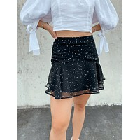 Star Print Mini Skirt - Black