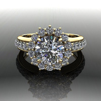 Forever Brilliant Moissanite and Diamond Engagement Ring 2.05 CTW