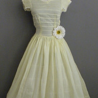 SALE Vintage 40s 50s Dress / Buttercup Yellow Voile Pintucked Fancy Trim Fit n Flare Swing Frock