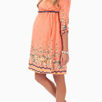 Peach Floral Printed Border 3/4 Sleeve Belted Maternity Dress