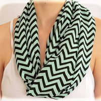 by (2BeRoxy) Cover Up Shevron Mint Scarf Zigzag Summer Accessory