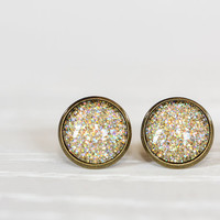 Gold Holographic Glitter Glass Earrings