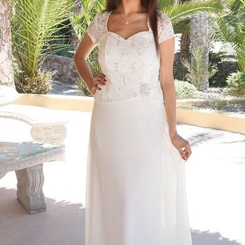 Always And Forever Cream Sequin Lace Maxi Dress