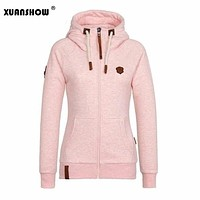 2017 Women Fashion New Hoodie Jacket Zip Collar Zipper Sweatshirts Long Sleeve Pullover Tracksuits xxxxl Hoodies