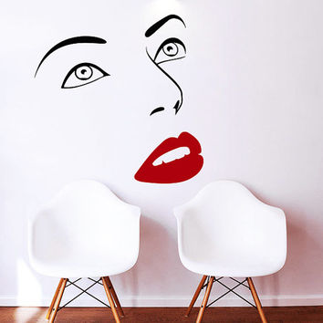 Makeup Wall Decal Vinyl Sticker Decals Home Decor Design Mural Make up Eyes Girl Woman Lips Cosmetic Hairdressing Hair Beauty Salon AN663