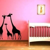 Giraffe Family Vinyl Wall Decal Sticker Graphic By LKS Trading Post