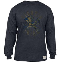 Notre Dame Fighting Irish - Distressed Mascot Tri-Blend Adult Long Sleeve T-Shirt