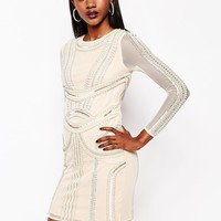 River Island Pearl Embellished Body-Conscious Dress