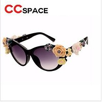 CCspace CAT EYE Flower Sunglasses Women Brand fashion glasses female summer Beach oval roses eyewear oculos de sol zonnebrillen