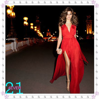 Red Long Chiffon Dress, Sexy Dress Prom, Prom Dress Evening, Long Prom Dress Under 100, Red Bridesmaid Dress, Sexy V-neck Dress High Split