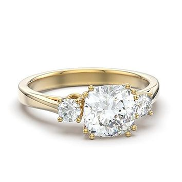 IP Gold Stainless Steel Ring 3 Stone Diamond Imitation