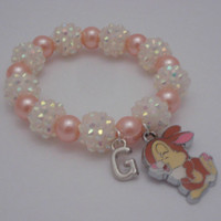 Bunny  charm chunky bracelet, childrens jewelry, bracelets for girls, bracelets, disney bracelet for girls, gift set, simple and cute