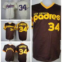 Vintage 34 Rollie Fingers Jersey Cooperstown 1978 1984 San Diego Padres Rollie Fingers Baseball Jerseys Coffee Grey White Pullover Cream