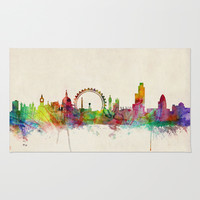 London Skyline Watercolor Rug by ArtPause