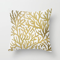 Gold Coral Throw Pillow by Cat Coquillette