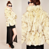 VINTAGE 70s 80s cream scalloped chubby ARCTIC fox fur shaggy patchwork boho hippie coat jacket