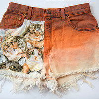 Vintage Levi High Waist Orange Ombre Cat Print Distressed Denim Cut Off Shorts