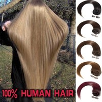"100% Human Hair 8Pcs Clip In Hair Extensions 8""-22"" 16Clips(USPS,Can Curly Dyed Washed"