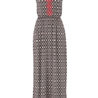 Patterned Maxi Dress With Contrast Embroidery - Black
