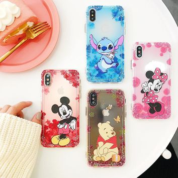For iPhone XS Max XR X Stitch Winnie Pooh Minnie Mickey Mouse Floral Shockproof Anti-knock Soft Case For iPhone 8 6 6S 7 Plus