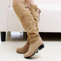 Women's Casual Fashion Stylish Square Heel Mid-Calf Suede Leather Boots = 1932243652